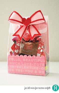 Valentine's gift package by Jen del Muro for Reverse Confetti. Confetti Cuts: In the Bag and Layered Bow. Valentine's gift. Friendship gift.