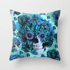 Full circle...Floral ohm skull pattern Throw Pillow by Kristy Patterson Design - $20.00