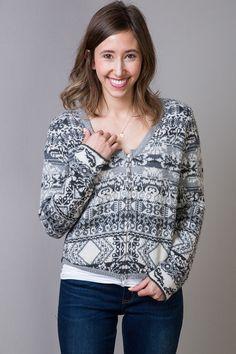 Grey Jacquard Cardigan | Sweater | Odd Molly