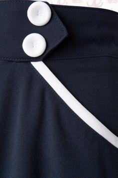 Miss Candyfloss Sailor Navy Blue Swing Skirt 122 31 14878 20150410 0005 Petticoats, Swing Skirt, White Trim, White Fabrics, Blue Fabric, Petra, African Fashion, Retro Vintage, Candyfloss