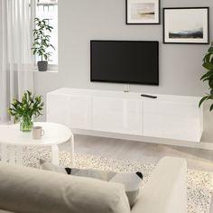 BESTÅ TV bench with doors - white stained oak effect, Selsviken high-gloss/white - IKEA Sala Ikea, Besta Tv Bank, Wall Mounted Tv Unit, Wall Units, Ikea Tv Wall Unit, Mounted Tv Decor, Soft Closing Hinges, Tv Bench, Tv Unit Design