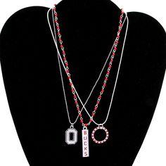 Ohio State Buckeyes Ladies Trio Necklace Set