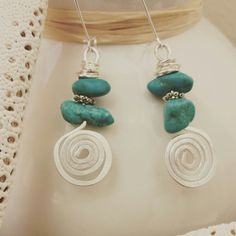My Funky Silver and Turquoise Earrings. By Jaqlyn Marie Designs!