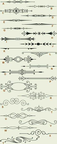 Letterhead Fonts / LHF Engraver Ornaments 1 / Old-fashioned Scrolls . - Letterhead Fonts / LHF Engraver Ornaments 1 / Old Fashioned Scrolls - Ornament Font, Chalkboard Art, Letterhead, Design Elements, Stencils, Bullet Journal, Clip Art, Graphic Design, Zentangles