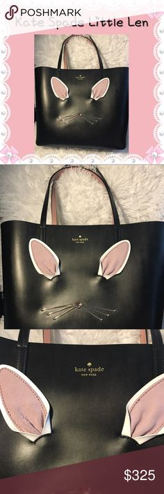 "Kate Spade Little Len Black Hop To It Tote Bunny Gorgeous ""Hop to It"" Little Len tote bag. Cute Bunny 🐰 / Rabbit 🐇 theme with cotton tail on the back. Has Purse feet at bottom. Shell is 100% cow leather with 100% polyurethane coating. Comes from a smoke-free home. Please see my other items. Bundle & save! kate spade Bags Totes"