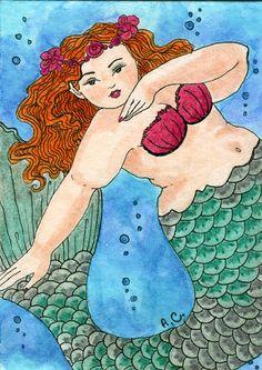 Fat girl mermaid green 5x7 print. $10.00, via Etsy. Love this Artist!!