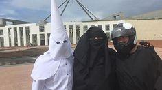 KKK, burqa, bikie men attempt to enter Parliament