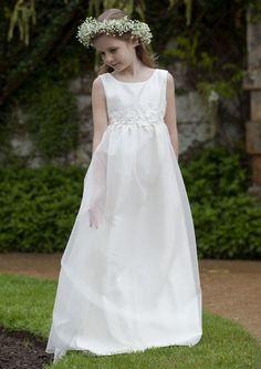Nicki Macfarlane Communion Dress - Lillian - Full Length Empire-line Silk Organza First Communion dress - Made to Order First Communion Dresses for