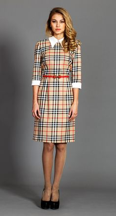 Midi Dresses – Checked pencil dress with white collar and cuffs.   Perfect for daily use and wear to work – a unique product by CultOfDress via en.dawanda.com