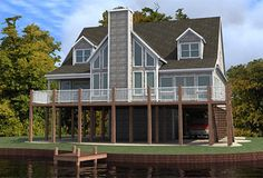 Coastal Home Plans - Beulah Point Eliminate bottom floor, rotate utility room so it goes out to side-entry garage, scale back guest bath to half. Awkward entrance for land shape.