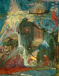"""Sidney Herbert Sime, """"Illustrative Design of Fountain and Figures"""" (nd), oil on canvas (courtesy Sidney H. Sime Memorial Gallery, via Art UK)"""