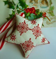 Redwork Star Christmas Ornament by CherieWheeler on Etsy, $10.00
