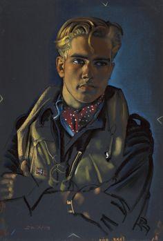 "Artist: Eric Kennington - Portrait of Sergeant M. Eriksen of the ""Royal Norwegian Air Force ""serving with the RAF Military Art, Military History, Pilot Uniform, Norwegian Air, Classical Art, Aviation Art, Gravure, World War Two, First World"