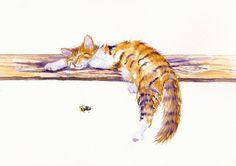 ORIGINAL WATERCOLOUR PAINTING: CATS KITTENS GreyPepperArt:   BEE SNOOZY