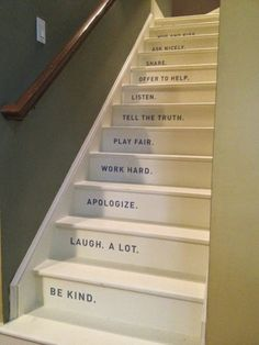 house rules on the stairs great for a back staircase Basement Stairs, Basement Bathroom, Basement Ideas, Basement Shelving, Open Basement, Basement Makeover, Basement Designs, Basement Bedrooms, Painted Stairs