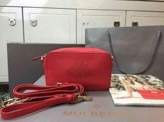 2015 Spring Summer Mulberry Blossom Pochette with Strap red Calf Nappa