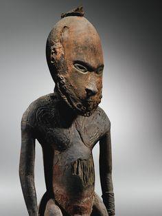 Statue masculine, Kopar, Village de Kopar, Embouchure du Sepik, Papouasie Nouvelle-Guinée Plus