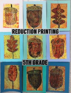 """Let me once again proclaim that """"I Love Printmaking!"""" It is such a fun process and I love the surprise each time you pull a print. Printmaking is a way of making multiple pieces of art by creating a p ✳APPRENDRE LA PEINTURE FACILEMENT ET L'ART✳ Fall Art Projects, School Art Projects, 6th Grade Art, Middle School Art, Art Lessons Elementary, Autumn Art, Art Lesson Plans, Art Classroom, Art Plastique"""
