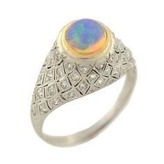 1910s Art Deco Opal Diamond Gold Platinum Domed Ring   From a unique collection of vintage dome rings at https://www.1stdibs.com/jewelry/rings/dome-rings/