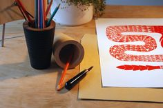 linocut red snake www.ciprian-vrabie.com