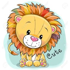 Cute cartoon lion on a blue background, vector illustration. Lion Drawing, Drawing For Kids, Art For Kids, Lion Painting, Belly Painting, Cute Cartoon Pictures, Cute Images, Cartoon Drawings, Cute Drawings
