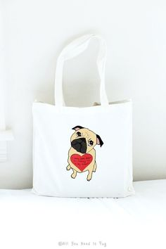 I Carry Your Heart Pug Tote Bag by AllYouNeedIsPugShop on Etsy