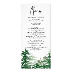 Romantic Watercolor Woodland Wedding Menu Card - romantic wedding gifts wedding anniversary marriage party