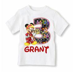 Camiseta Mickey Mouse Roadster personalizado con nombre y edad