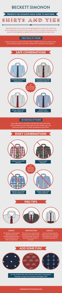 THE ULTIMATE CHEAT GUIDE TO MATCHING SHIRTS AND TIES | How to Deal With Your Clothes Both ON and OFF Your Body - Imgur