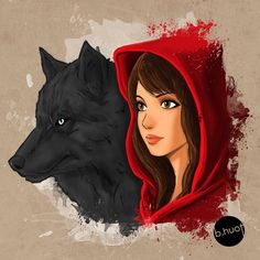 Little Red Riding Hood and the wolf by bunnarath on DeviantArt Little Red Hood, Little Red Ridding Hood, Red Riding Hood Wolf, The Wolf Among Us, Charles Perrault, Kpop Drawings, Fairytale Art, Cute Art, Illustration