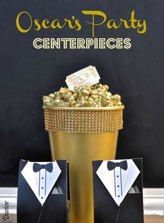 DIY Oscar Party Centerpieces (gold spray paint metallic color) #oscars #oscarnight #theoscars
