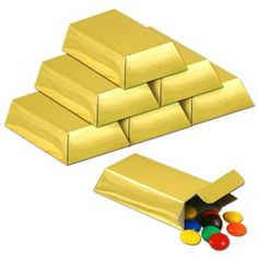 Pack of 12 Foil Gold Bar Favour Boxes (Cardboard) - Casino Party Decoration Ideas