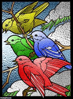 Four Calling Birds Stained Glass Window Pictures - Freaking News