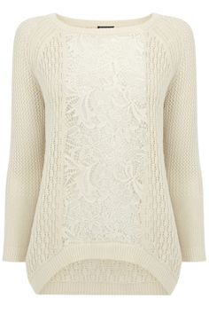 Clothing | Neutral LACE INSERT BLOCK JUMPER | Warehouse