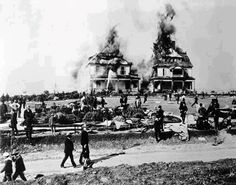 """This is the earliest photograph of a major fire in Los Angeles and possibly the earliest photo of the newly formed Los Angeles Fire Department in action. Source: LAPL  """"At 10 o'clock Monday morning, December 16, 1887, fire broke out in the renowned Belmont Hotel, a famous resort atop Bunker Hill at the end of the Second Street cable car line. In less than 2 hours the structure was gone."""
