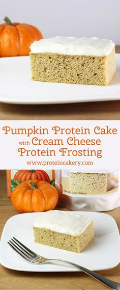 Pumpkin Protein Cake with Cream Cheese Protein Frosting - gluten free, low carb, low sugar