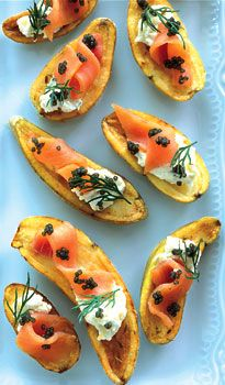 Cumin-Roasted Potatoes with Caviar and Smoked Salmon by Bon Appétit>>>>I will probably use capers, not caviar. Tapas, Caviar Recipes, Smoked Salmon Recipes, Festa Party, Roasted Potatoes, Fingerling Potatoes, Cheese Potatoes, Appetisers, Appetizer Recipes