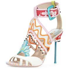 Nereida Strappy 100mm Sandal, white/nectarine (€800) ❤ liked on Polyvore featuring shoes, sandals, heels, ankle tie sandals, strap sandals, white ankle strap sandals, ankle wrap sandals and multi color sandals