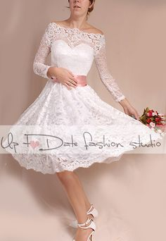 Off-Shoulder Short wedding romantic lace by UpToDateFashion