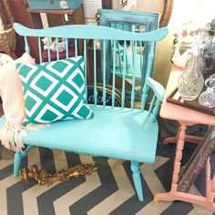 Sweet display in booth with cute bench