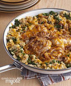 Plat tout en un de poulet, de farce et d'oignons caramélisés #recette