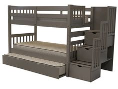 Bunk Bed Twin over Twin Stairway Gray with Trundle delivered for only $648