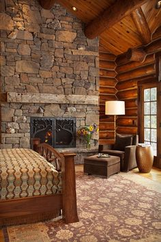 Rustic lodge bedroom with fireplace Phillips Ridge Tour 5 Log Cabin Living, Log Cabin Homes, Luxury Log Cabins, Log Home Bedroom, Bedroom Ideas, Dream Bedroom, Master Bedroom, Log Home Decorating, Decorating Ideas
