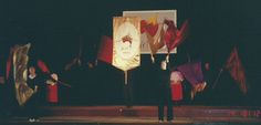 The Spirit Moves banner designed in New Zealand and made in Banner Workshops at the 2000 International Christian Dance Fellowship Conference at Mittagong in 2000  It is made of white slipper satin, gold and red lamé and cording ...