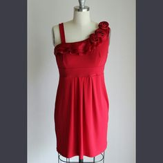 Candy Apple Red Dress Cute and flirty red dress only worn once with satin roses along one shoulder. Pair with some patterned tights and ankle booties and you'll have the perfect outfit!   Waist: 13.5in Length: (from shoulder) 31in Sweet Storm  Dresses