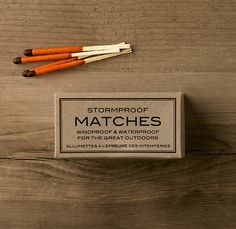 Stormproof Matches    Neither wind, nor rain, nor snow will keep our emergency-essential safety matches from their appointed task.