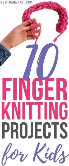 knitting for kids Check out these 10 super simple finger knitting projects for kids that they can make in an afternoon! Finger knitting for kids is a really easy way to get kids interesting in creating. Great introduction to learning knitting for kids. Knitting Terms, Knitting For Kids, Knitting For Beginners, Knitting Stitches, Hand Knitting, Knitting Patterns, Crochet Pattern, Scarf Patterns, Knitting Machine