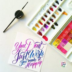 By calligrafikas: Just make it happen Paper: Canson Paint: Missio Gold & Shin Han PWC watercolors Brush: Silver Brush Black Velvet round no 2 Learn Calligraphy, Calligraphy Letters, Typography Letters, Hand Lettering Art, Brush Lettering, Watercolor Typography, Watercolor Paper, Pen Quotes, Pochade Box