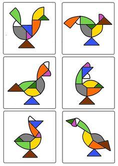 Tangram - Oiseaux avec gabarit oeuf de Pâques
