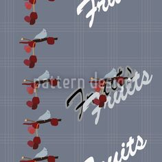 Checked pattern design with birds and cherries.